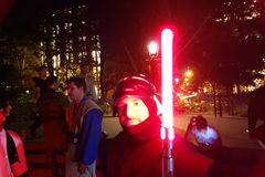 The 2014 NYC Lighsaber Battle 146. A lightsaber duel occurs when two or more combatants armed with lightsabers, or when one party using lightsabers against Royalty Free Stock Photos