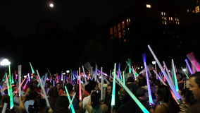The 2014 NYC Lighsaber Battle 171. A lightsaber duel occurs when two or more combatants armed with lightsabers, or when one party using lightsabers against Royalty Free Stock Photos