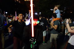 The 2014 NYC Lighsaber Battle 174. A lightsaber duel occurs when two or more combatants armed with lightsabers, or when one party using lightsabers against Stock Photography