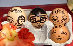 NYC: Lincoln Square Farmer's Market. A vendor at NYC's Lincoln Square Farmer's Market displays her farm fresh eggs with an artistic touch showing the difference Royalty Free Stock Photo