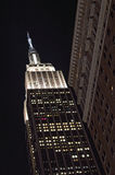 NYC - looking up. Empire State Building against a black night sky Royalty Free Stock Photo