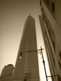 NYC - looking up - Freedom Tower. Freedom Tower, New York City. Monochrome image Stock Images