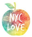 NYC love. Illustration of an apple with a texture on it, it reads NYC love. It symbolizes New York city as the big apple Stock Image