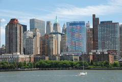 NYC: Lower Manhattan Skyline. The dramatic skyline of lower Manhattan with the apartment towers and hotels at Battery Park City in the foreground seen from the Stock Photography