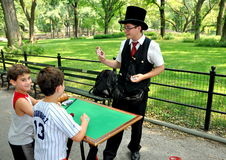NYC: Magician in Central Park Stock Photos