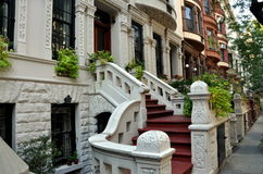 NYC : Maisons urbaines d'UWS Photos libres de droits