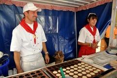 NYC: Making Dutch Pancakes Stock Photo