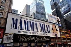NYC: Mamma's Mia Muzikaal bij Theater Wintergarden Royalty-vrije Stock Foto's