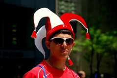 NYC: Man Wearing Jester's Hat at Turkish Day Parade Stock Images