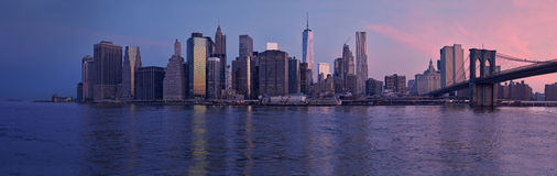 NYC Manhattan financial district at the morning Royalty Free Stock Image