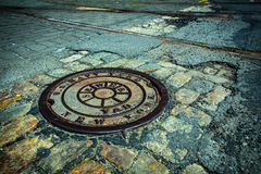 NYC Manhole drain cover Stock Image