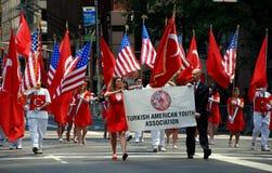 NYC: Manifestantes turcos del desfile del día Foto de archivo libre de regalías