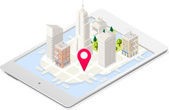 NYC Map 03 Building Isometric. NYC in a Tablet Liberty Statue and Landmarks Isometric 3D Flat Landmark New York Manhattan Usa Buildings Map Elements Design Stock Images