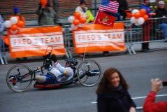 2014 NYC-Marathon-Rennläufernahaufnahme Stockbild