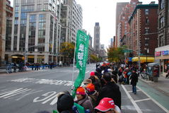 2014 NYC Marathon view on 1st Avenue - Japanese sign Stock Photos