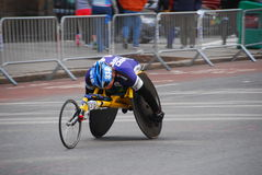 2014 NYC Marathon wheelchair racer closeup Royalty Free Stock Photography