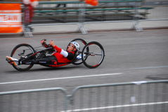 2014 NYC Marathon wheelchair racer closeup Stock Image