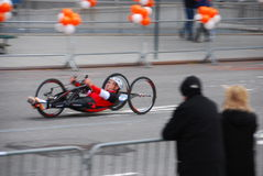 2014 NYC Marathon wheelchair racer closeup Royalty Free Stock Images