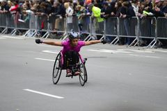 2017 NYC Marathon - Wheelchair Woman Royalty Free Stock Images