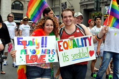 NYC: Marchers with Signs at Gay Pride Parade stock photos