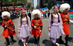 NYC: Marchers at Turkey Day Parade. New York City:  Children wearing traditional Turkish clothing marching in the annual Turkish Day Parade on Madison Avenue Royalty Free Stock Image