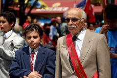 NYC: Marchers at Turkey Day Parade. New York City:   Elderly gentleman marching with his grandson in the annual Turkish Day Parade on Madison Avenue Stock Images