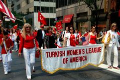 NYC: Marchers at Turkey Day Parade Royalty Free Stock Photo