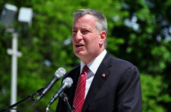 NYC:  Mayor Bill DeBlasio Speaking at Memorial Day Ceremonies. NYC - May 26, 2014: New York City Mayor Bill DeBlasio speaking at the annual Memorial Day Royalty Free Stock Image