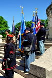 NYC: Memorial Day 2013 Ceremonies. Members of the Sons of Union Veterans of the Civil War (1861-65) on the steps of the Soldiers' and Sailors' Monument during Stock Photo