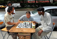 NYC: Men Playing Chess on the Street Royalty Free Stock Photos