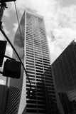 NYC Midtown Buildings. A black and white look-up shot of Midtown NYC Royalty Free Stock Photography