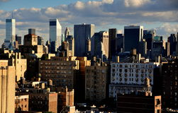 NYC:  Midtown Manhattan Skyline. Skyline of midtown Manhattan with Citicorp Tower (triangular roof) and the SONY Chippendale tower (center) with Upper West Side Stock Photography