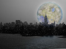 NYC Moon Rise Royalty Free Stock Images