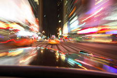 NYC motion blur. Crusing Times square in the evening hours. Land of opportunity Royalty Free Stock Photos