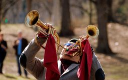 NYC: Musician Playing Two Trumpetds Stock Photo