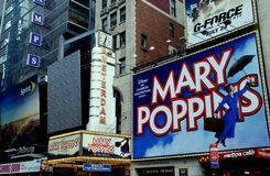 NYC: New Amsterdam Theatre and Billboards Stock Photos