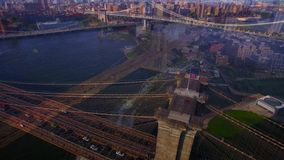 NYC New York Brooklyn bridge and river from 4k aerial bird eye shot, amazing skyline with skyscrapers stock footage