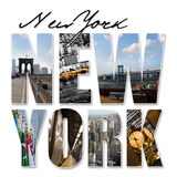 NYC New York City Graphic Montage Royalty Free Stock Photos