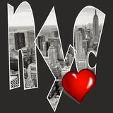 NYC New York Love inside text on black background. NYC New York Love heart inside text on black background Royalty Free Stock Image
