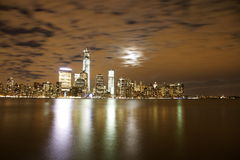 Lower Manhattan. NYC from newport NJ during night , downtown, ground zero, skyline, hudson river, night light Royalty Free Stock Images