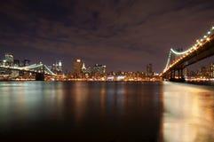 NYC At Night. Brooklyn And Manhattan Bridge At Night Royalty Free Stock Photos