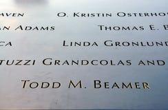NYC: Nombres inscritos en 9/11 monumento foto de archivo libre de regalías