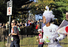NYC Nov 7: runner in swan outfit NYC Marathon 2010 Stock Photo