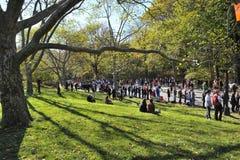 NYC novembro 7: As multidões prestam atenção a uma maratona de 2010 NYC Imagens de Stock