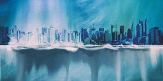 NYC. Cityscape. Painting in blue colors Royalty Free Stock Photo