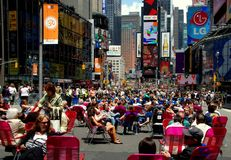 NYC: Pedestrian Mall at Times Square. Times Square in New York City is now a huge pedestrians only zone with all cars and traffic banned enabling visitors and royalty free stock photos