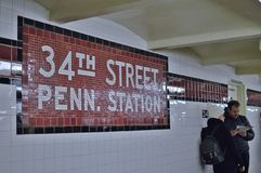 NYC Penn Station Subway Platform Tourist Couple Traveling in New York City Transportation Underground stock images
