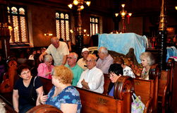 NYC: People at Eldridge Street Synagogue Stock Photo