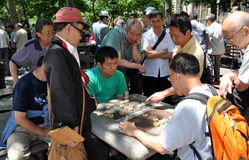 NYC:  People Playing Checkers in Chinatown Royalty Free Stock Photo