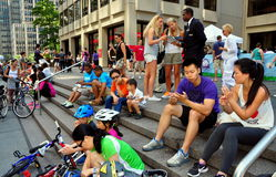 NYC:  People Resting on Park Avenue Royalty Free Stock Photo